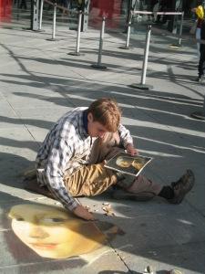 Modern pavement Artist, Francois Pelletier in Paris.